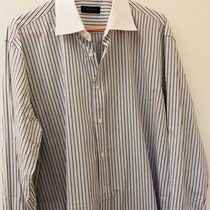 Canali Men dress shirt French Cuffs 17 1/2 44
